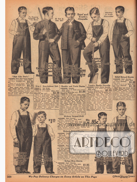 """Arbeitskleidung (Overalls und Jacken) aus unifarbenem oder gestreiftem, blauen Jeansstoff (engl. """"Indigo Blue Denim"""") für 3 bis 15-jährige Jungen. Die Nähte der Overalls und Jacken sind doppelt ausgeführt, um einer möglichst langen Beanspruchung dauerhaft standzuhalten. Auch die großen Taschen sind doppelt aufgenäht."""
