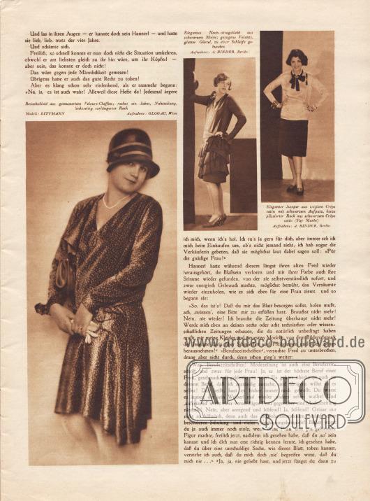 """Artikel: Scherer, A. H., Ihre Modenzeitung. Humoreske von A. H. Scherer.  Die Humoreske wird durch drei Modefotografien mit den Bildunterschriften vervollständigt """"Besuchskleid aus gemustertem Velours-Chiffon; rechts ein Jabot, Nahtteilung, linksseitig verlängerter Rock"""", """"Elegantes Nachmittagskleid aus schwarzem Moiré; gezogene Volants, glatter Gürtel, zu einer Schleife gebunden"""" und """"Eleganter Jumper aus weißem Crêpe Satin mit schwarzem Aufputz, hiezu plissierter Rock aus schwarzem Crêpe Satin (Fay Marbé [US-amerikanische Tänzerin, Sängerin und Schauspielerin, 1899-1986])"""". Modelle: Bittmann. Fotos: Edith Glogau (1898-1970 oder 1990?), Wien; Atelier Alexander Binder (1888-1929), Berlin."""