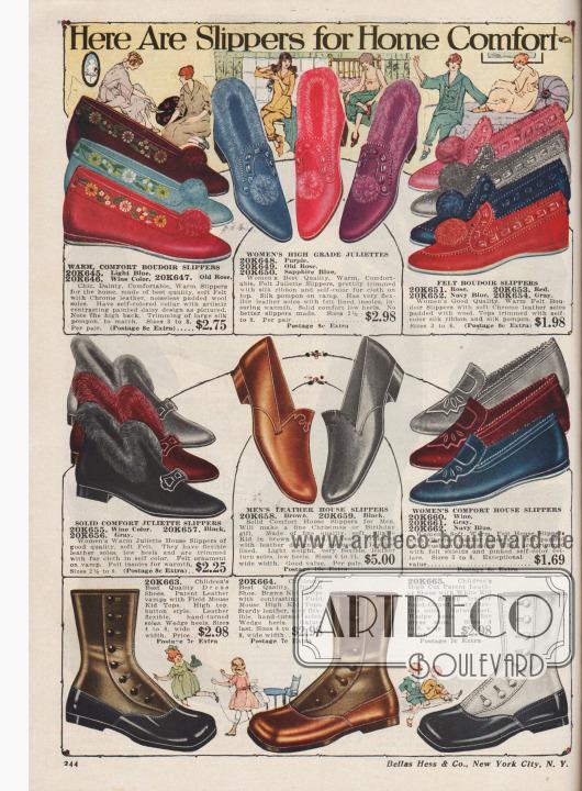 """""""Hier sind Hausschuhe für häuslichen Komfort"""" (engl. """"Here Are Slippers for Home Comfort""""). Boudoir Pantoffeln, Filz-""""Juliette""""-Hausschuhe für junge Frauen und Damen und Hausschlappen für Männer zu Preisen von 1,69 bis 5,- Dollar. Unten Schuhe für 1 bis 3-jährige Kleinkinder zu Preisen von je 2,98 Dollar. Die Hausschuhe und Pantoffeln für Damen sind aus Filz, während die Sohlen aus chromgegerbten Ledern mit Wollpolsterung gearbeitet wurden. Pompons, Röllchen aus Webpelz, Seidenbänder und aufgemalte Margeriten verschönern die Modelle. Die Herren-Pantoffeln sind aus Chevreauleder (Ziegenleder) mit weichen, biegsamen Sohlen gearbeitet. Die drei Schuh-Paare für Kleinkinder (unten) sind aus zweifarbigen Ledersorten wie Lackleder oder Chevreauleder hergestellt. Seitliche Knopfschlüsse."""