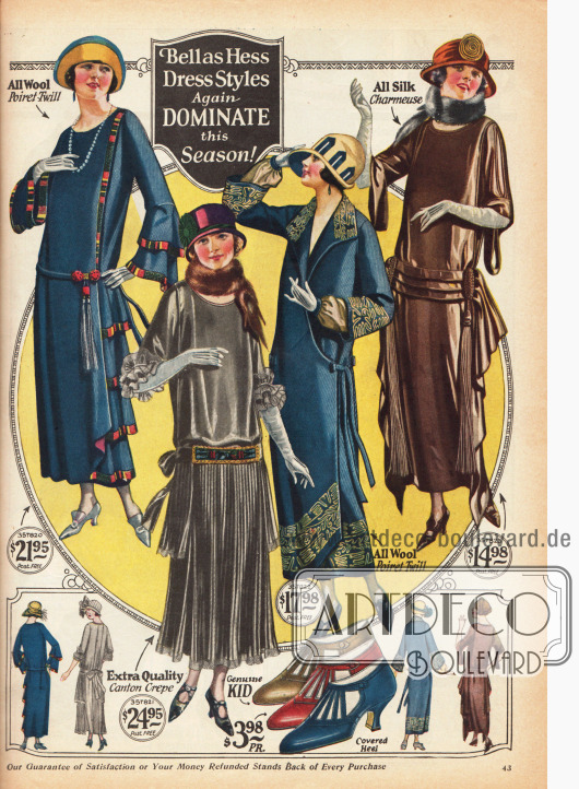 Elegante Damenkleider in herbstlichen Farben, tiefen Gürtellinien und im schlanken Schnitt.