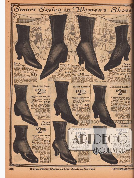 """""""Pfiffige Stile für Damenschuhe"""" (engl. """"Smart Styles in Women's Shoes""""). Stiefel, Schnürstiefel und Stiefeletten aus wahlweise schwarzem oder """"gunmetal"""" (dunkelblaugrauem) Chevreauleder (Ziegenleder), """"Vici""""-Chevreauleder oder Lackleder. Die Oberteile (Schafte) sind größtenteils aus Stoff. Zwei Paare werden mit Knöpfen geschlossen anstatt geschnürt. Spitze Kappen sind modern. Unter den Stiefelmodellen können Schuhe mit geschwungenen Louis XIV Absätzen oder mit niedrigeren, breiten Militärabsätzen ausgewählt werden."""