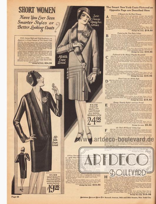 Damenmäntel speziell in kleinen Konfektionsgrößen für Damen, die kleiner sind als 5 feet 3 inch (etwa 1,60 m). Die Mäntel sind aus Seiden-Satin und Woll-Kasha (links) sowie matt glänzendem Woll-Breitgewebe (rechts). Der Kragen des ersten Modells ist mit Fasern besetzt, das Affenhaar imitiert. Der rechte Mantel dagegen ist mit gefärbtem Kaninchenfell verbrämt.