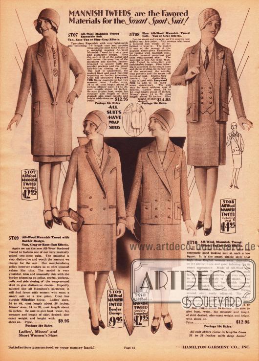 Ein zweiteiliges Sportensemble aus Woll-Tweed (oben links) sowie drei sportlich-herrenmäßige Kostüme ebenfalls aus Woll-Tweed. Das dreiteilige Kostüm oben rechts zeigt eine doppelreihige Weste und die dazugehörige einreihige Jacke interessant gearbeitete Taschenklappen. Die Kostüme unten präsentieren beide doppelreihige Jacken. Das linke Modell ist mit Ziernähten an Kragen, Revers, Ärmeln und Taschen versehen worden. Das rechte Modell präsentiert aufgesetzte Taschen.