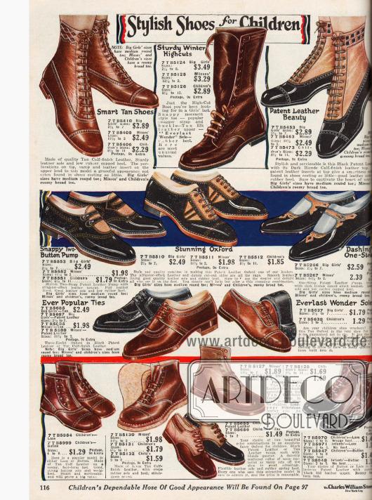 Kinderschuhe und Stiefel aus Leder und Lacklederschuhe für kleine Mädchen. Auch Schuhe für Kleinkinder sind bestellbar, die entweder geschnürt oder zugeknöpft werden können (Paar unten links).