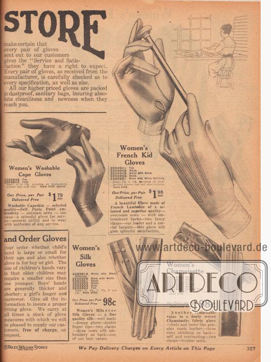 """""""Die Abteilung für Handschuhe"""" (engl. """"[The Glove] Store""""). Feine, elegante Damenhandschuhe aus importiertem Kapsaffian (fein gegerbtes Schafsleder aus Südafrika, engl. """"Capeskin""""), Chevreauleder (Ziegenleder), Mailänder Seide und """"Chamoisette"""" (gewebter Stoff, Qualität und Haptik wie Fensterleder). Die Handschuhe werden mit ein oder mittels zwei Druckknöpfen verschlossen und zeigen zudem Nahtverstärkungen und Ziernähte auf den Handrücken."""