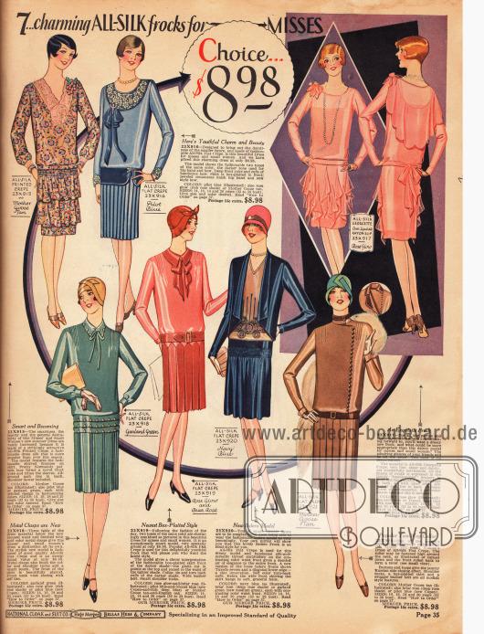 """""""7… bezaubernde Kleider aus reinen Seidenstoffen für das Fräulein"""" (engl. """"7… charming ALL-SILK frocks for MISSES"""").Die Tageskleider sowie das Abendkleid oben rechts kosten jeweils 8,98 Dollar und sind aus bedrucktem und unifarbenem Seiden Krepp sowie Seiden-Georgette und Rayon. Die Ausschnitte der ersten Kleider oben links sind mit Spitze besetzt. Die unteren Kleider zeigen eher hochgeschlossene Kragen und Bubikragen. Das Party- und Tanzkleid oben rechts präsentiert ein Rückencape, eine Kunstblüte auf der Schulter sowie """"taschentuchartig"""" drapierte Stoffteile am Rock."""