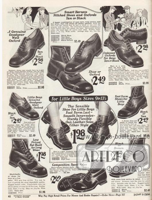 """Halbschuhe und Stiefeletten wahrscheinlich aus Kalbsleder für kleinere und größere Jungen.Gezeigt werden überwiegend Derby Modelle und einzelne Oxford Schuhe. Leichte, dezente Ziernähte, ein Schuhpaar mit Prägung (oben rechts) und Lochlinienverzierungen (Perforationen) sorgen für Abwechslung unter den einzelnen Modellen. Die Schuhe für kleine Jungen unten sind mit extra weichen Sohlen versehen. Die Schuhe sind Rahmenvernäht (""""Goodyear welted"""")."""