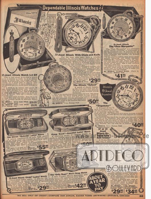 """""""Zuverlässige Illinois Uhren"""" (engl. """"Dependable Illinois Watches""""). Taschenuhren mit passenden Ketten für Männer und Armbanduhren mit Schmuckkästchen größtenteils für Damen von dem amerikanischen Hersteller Illinois Watch Company, Springfield. Die Armbanduhren heißen """"Redonda"""", """"Long Beach"""", """"Pride"""" oder """"Jolly Roger"""". Die Gehäuse der Uhren sind vergoldet und mit kleinen Edelsteinen, wie Rubinen sowie echten oder synthetischen Saphiren besetzt."""