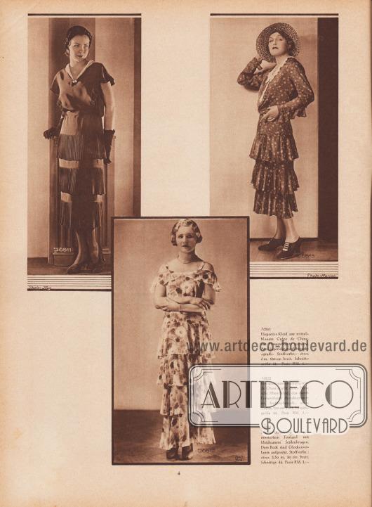 J 6511: Elegantes Kleid aus mittelblauem Crêpe de Chine, mit Plisseevolants garniert. Am Lingeriekragen Schmuckagraffe. Stoffverbr.: etwa 6 m, 100 cm breit. Schnittgröße 44. Preis RM. 1.—. J 6512: Ein apart gemusterter Crêpe de Chine ergibt dieses hübsche Abendkleid, das durch Formvolants charakterisiert ist. Stoffverbrauch: etwa 7,80 m, 100 cm breit. Schnittgröße 44. Preis RM. 1.—. J 6513: Nachmittagskleid aus gemustertem Foulard mit kleidsamem Seidenkragen. Dem Rock sind Glockenvolants aufgesetzt. Stoffverbr.: etwa 5,50 m, 80 cm breit. Schnittgr. 44. Preis RM. 1.—. Fotos: Ifag; Studio Marion bzw. Anny Fuchs, Berlin (Lebensdaten unbekannt); Yva (Else Ernestine Neuländer-Simon, 1900-1942). [Seite] 4