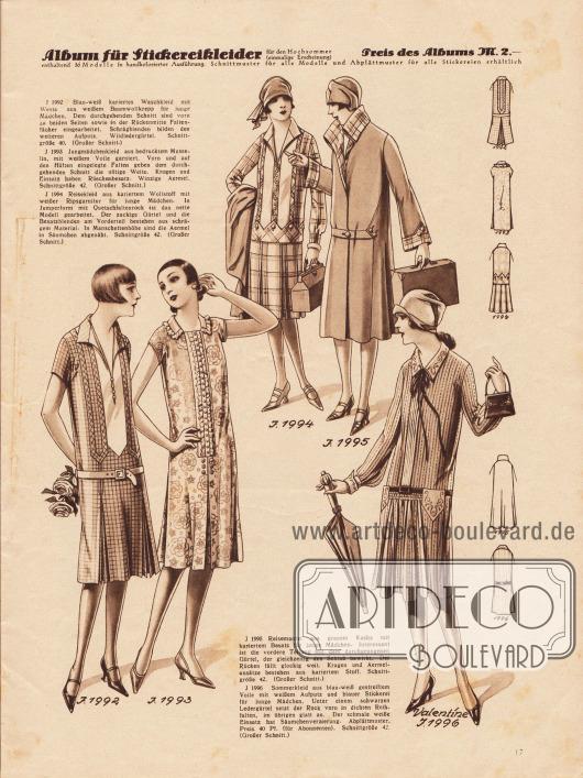 1992: Blau-weiß kariertes Waschkleid mit Weste aus weißem Baumwollkrepp für junge Mädchen. Dem durchgehenden Schnitt sind vorn zu beiden Seiten sowie in der Rückenmitte Faltenfächer eingearbeitet. Schrägblenden bilden den weiteren Aufputz. Wildledergürtel. 1993: Jungmädchenkleid aus bedrucktem Musselin, mit weißem Voile garniert. Vorn und auf den Hüften eingelegte Falten geben dem durchgehenden Schnitt die nötige Weite. Kragen und Einsatz haben Rüschenbesatz. Winzige Ärmel. 1994: Reisekleid aus kariertem Wollstoff mit weißer Ripsgarnitur für junge Mädchen. In Jumperform mit Quetschfaltenrock ist das nette Modell gearbeitet. Der zackige Gürtel und die Besatzblenden am Vorderteil bestehen aus schrägem Material. In Manschettenhöhe sind die Ärmel in Säumchen abgenäht. 1995: Reisemantel aus grauem Kasha mit kariertem Besatz für junge Mädchen. Interessant ist die vordere Teilung mit dem durchgezogenen Gürtel, der gleichzeitig den Schluß bewirkt. Der Rücken fällt glockig weit. Kragen und Ärmelansätze bestehen aus kariertem Stoff. 1996 (Valentine): Sommerkleid aus blau-weiß gestreiftem Voile mit weißem Aufputz und blauer Stickerei für junge Mädchen. Unter einem schwarzen Ledergürtel setzt der Rock vorn in dichten Reihfalten, im übrigen glatt an. Der schmale weiße Einsatz hat Säumchenverzierung.