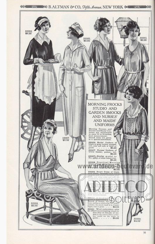 B. ALTMAN & CO, Fifth Avenue, NEW YORK.  MORGENRÖCKE, ATELIER- UND GARTENKITTEL SOWIE SCHWESTERN- UND DIENSTMÄDCHENUNIFORMEN. Morgenkleider und Uniformen für Krankenschwestern und Dienstmädchen werden in den Größen 34 bis 46 Zoll Brustumfang geführt. Die Kittelgrößen sind in einer besonderen Anmerkung unten angegeben.  55S56: Dienstmädchenuniform aus schwarzem oder grauem Baumwoll-Pongee, mit Kragen und Manschetten aus weißer Organdy… 5,25 $. 55S57: Krankenschwestern-Uniform aus weißem Leinen; Taschen; Gürtel… 2,95 $. 55S57A: Ähnliches Modell wie Nr. 55S57, aus weißem Oxford-Stoff… 5,25 $. 55S58: Praktisches Morgenkleid aus blau-weiß oder rosa-weiß gestreiftem Gingham-Stoff, mit weißem Kragen, Wickeltaille und Schärpe… 2,95 $. 55S59: Schickes Kleid aus schwarz-weiß, lavendel-weiß oder rosa-weiß kariertem Gingham, mit weißem Kragen und farblich zum Karo gestickten Manschetten; Knöpfe geben eine zusätzliche Note… 4,65 $. 55S60: Ein bisschen Stickerei gibt diesem Kittel aus Leinen, der vorne geschlossen wird, eine besondere Note; er hat einen weißen Kragen und modische Taschen; der Kittel selbst ist in Kopenhagen Blau, Rosa oder Grün… 2,95 $. 55S61: Wollstickerei setzt einen effektvollen Kontrast zu diesem Überzieh-Kasack aus Leinen, in Hellbraun, Rosa oder Bau; ein kragenloses Modell für das Atelier oder den Garten… 3,35 $.  HINWEIS – Kittel bzw. Kasacks werden in den folgenden Größen angeboten: Größe Nr. 1 für Damen; Größe Nr. 2, entspricht 36 und 38 Zoll Brustumfang; Größe Nr. 3, entspricht 40 und 42 Zoll Brustumfang.  [Seite] 30