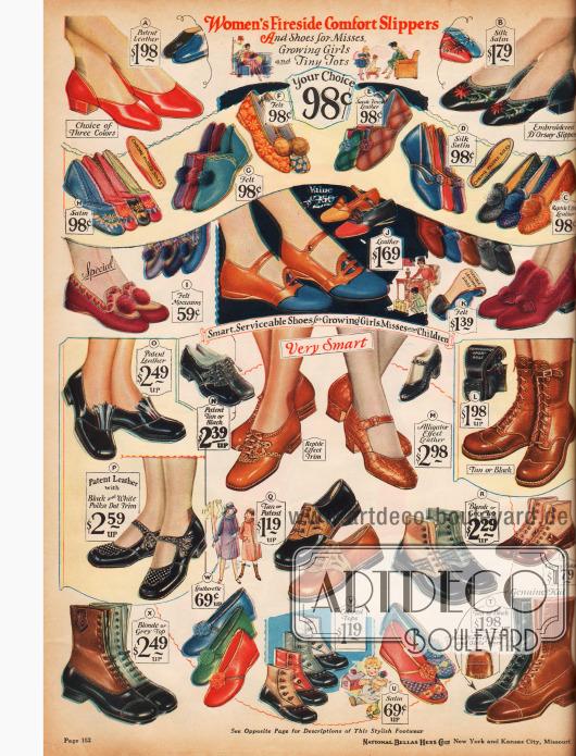 """Hausschuhe für Damen, sog. """"Boudoir Slipper"""" (Damenzimmer Pantoffel) aus Leder und Seiden-Satin, zum Teil einem kleinen Pompon an der Spitze. Darunter werden Schuhe für Mädchen verschiedenen Alters präsentiert; kleine Stiefel, Laufschuhe und Straßenschuhe."""