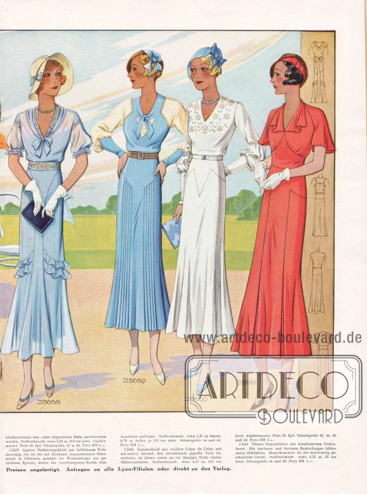 Sommerliche Damenmode für Juli 1932.5658: Jugendliches Sommerkleid aus bleufarbenem Georgette mit bunter Perlstickerei an Ausschnitt, Ärmel und Gürtel. Apart geschnittener Rock, dessen zierliche Glockenvolants von einer eingesetzten Bahn unterbrochen werden.5659: Apartes Nachmittagskleid aus hellblauem Wollshantung, der für die mit Hohlnaht eingearbeiteten Oberärmel in Elfenbein gewählt ist. Westeneinsatz aus gerüschten Spitzen, denen die verschlungenen Enden vom Ausschnitt aufliegen.5660: Sommerkleid aus weißem Crêpe de Chine mit modernem Ärmel, den überfallende gepuffte Teile bereichern&#x3B; an diesen sowie an der blusigen Taille schöne Madeirastickerei.5661: Flottes Sommerkleid aus korallenrotem Seidenfrotté. Die vorderen und hinteren Rockteilungen bilden unten Hohlfalten. Bemerkenswert ist der miederartig geschnittene Gürtel.