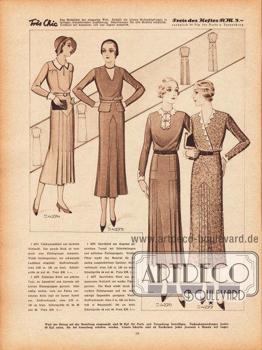 4274: Übergangskleid aus leichtem Wollstoff. Der gerade Rock ist vorn durch eine Faltengruppe erweitert. Weiße Seidengarnitur, mit schwarzem Lackband eingefaßt. 4275: Einfaches Kleid aus grünem Tuch, an Ausschnitt und Ärmeln mit kleinen Biesengruppen garniert. Dem mäßig weiten, vorn mit Falten versehenen Rock liegt ein kurzer Schoß auf. 4276: Sportkleid aus diagonal gestreiftem Tweed mit Schnitteilungen und seitlichen Faltengruppen. Weißer Pikee ergibt das Material für die zackig ausgeschnittene Garnitur. 4277: Sportliches Kleid aus gemustertem Wollstoff mit weißer Pikeegarnitur. Der Rock erhält durch die vordere Faltengruppe und die rückwärtige Gegenfalte genügend Weite.