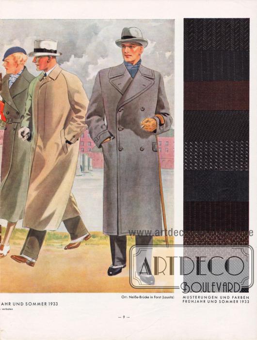 """Ein zweireihiger Damenmantel, ein Paletot Mantel mit verdeckter Knopfleiste sowie ein zweireihiger Ulster Mantel für Herren. Rechts werden zudem neun Musterungen und Stofffarben für Frühjahr und Sommer 1933 abgebildet. Das """"Hänsel-Echo"""" zu modischen Mänteln """"Der einreihige Paletot mit verdeckter Leiste hat stets hochstehende Fasson. Seine Taille darf nur angedeutet sein. […] Die Ulster sind stets zweireihig und schließen auf drei Knopfpaaren. […] Mäntel wie Ulster haben Rückennaht und Rückenschlitz."""" Zeichnung: Harald Schwerdtfeger (1888-1956)."""