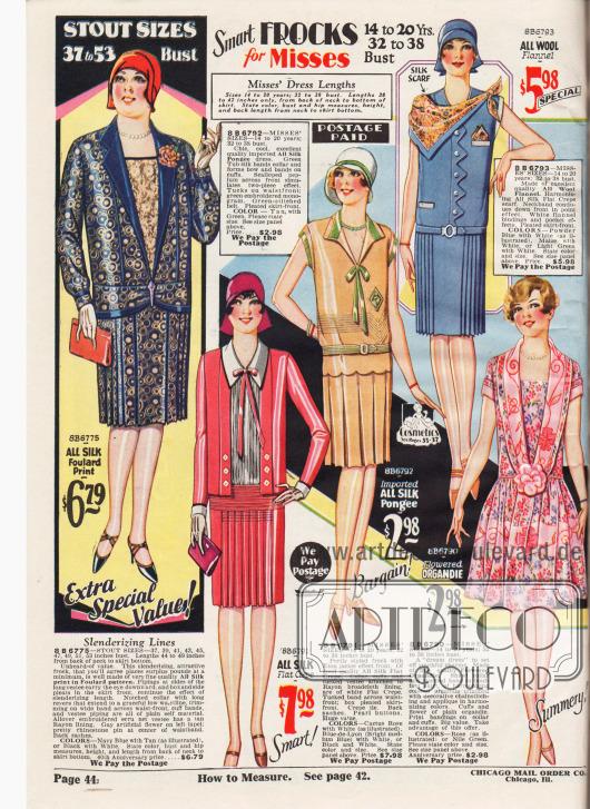 Einfache, sommerliche Kleider und ein Jackenkleid für junge Frauen zwischen 14 und 20 Jahren sowie ein Kleid für stärker gebaute, füllige Damen links oben. Die Kleider sind aus bedrucktem Seiden-Foulard, Seiden Krepp, importiertem Seiden-Pongee, Woll-Flanell und geblümtem Organdy. Die Kleider sind mit Biesen oder Stickereien, schmalen Schleifen, Westeneinsätzen aus Spitze oder mit einen Schal, der fast wie ein Cape getragen wird, versehen. Die Röcke sind durch Plissee- und Kellerfalten erweitert oder zeigen einen bauschigen, Falten werfenden Rock wie das Organdy Kleid unten rechts.