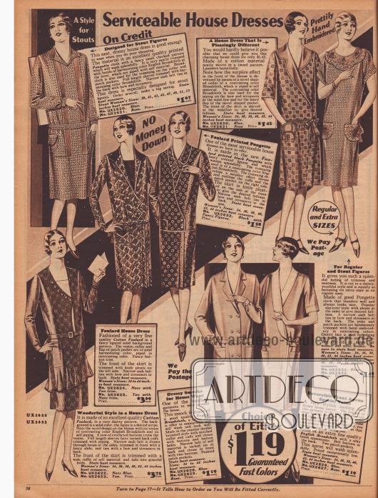 Doppelseite mit 16 Haushaltskleidern und Kitteln aus Baumwoll-Foulard, Breitgewebe, bedruckten Seidengeweben und bedruckten Baumwollgeweben. Die Preise rangieren zwischen 99 Cent und 3,75 Dollar.
