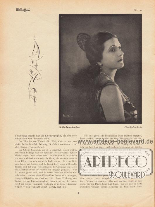 Artikel:Ulitzsch, Ernst, Moderne Frauenschönheit.Mit einer Fotografie der österreichischen Stummfilmschauspielerin Gräfin Agnes Esterházy (1891-1956).Foto: Atelier Binder, Berlin.