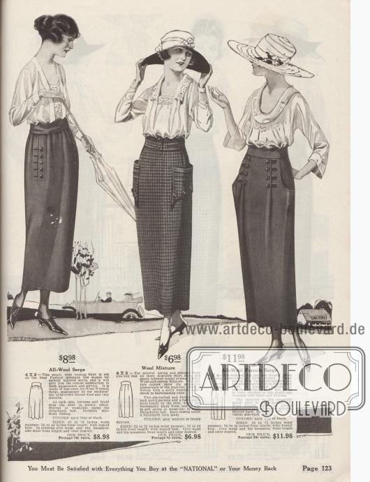 Drei modische Damenröcke aus diagonal gewebter, gekämmter Woll-Serge, kariertem Woll-Baumwoll-Gewebe oder französischer Woll-Serge. 4X2: Schlichter Rock, bestellbar in Marineblau oder Schwarz, der unterhalb des abnehmbaren Gürtels gerafft ist. Die eingelassenen Schlitztaschen sind flankiert von Knöpfen und Tressen. 4X3: Rock mit interessant geformten, abstehend aufgesetzten Taschen, die mit Haarbiesen und Knöpfen garniert sind. Der Rock ist vorne glatt und hinten Falten werfend gearbeitet. 4X4: Modischer Rock mit verbreiterter und drapierter Hüftpartie sowie eingearbeiteten großen Taschen. Vorne zwei tiefe Falten flankiert von Tresse und Knopfgarnitur. Geraffte Rückseite und abnehmbarer Gürtel.