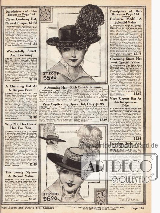Seite mit den Beschreibungen der Hutmodelle der vorangegangenen Seite und zwei recht breitkrempigen Damenhüten aus Samt (oben) sowie Samt und Seide (unten). Beide Hüte zeigen große, voluminöse Straußenfedern.