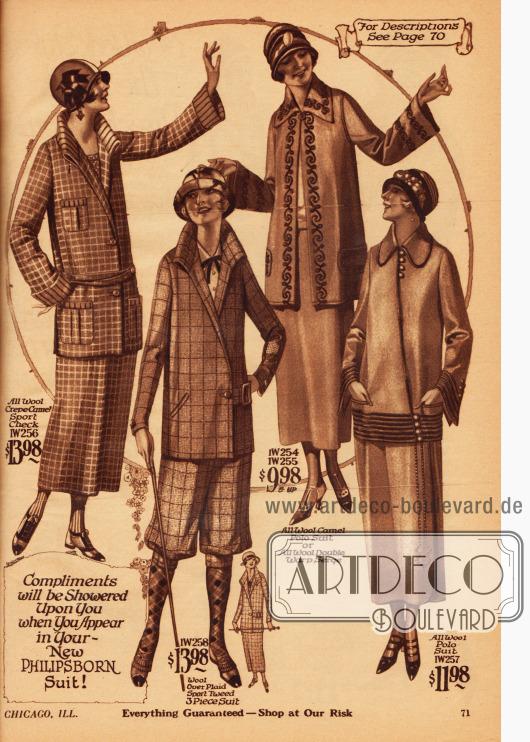 Drei Kostüme aus Woll-Kamelhaar Krepp, Woll-Kamelhaar Polostoff und Wollstoff sowie einen Hosenkostüm mit Kniebundhose aus Woll-Sport-Tweed.Die Jacke des ersten Modells besitzt drei große Taschen und zeigt einen hochstehenden interessant verarbeiteten Kragen. Die Jacken des zweiten und dritten Kostüms werden nur oben oder unten seitlich geschlossen. Stickereien (2. Kostüm) und mehrreihige Tressen (3. Kostüm) dienen zur Verschönerung.