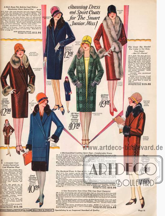 """12 damenhafte Wintermäntel für junge Frauen. Die Preise rangieren zwischen 7,98 und einem Mantel aus Waschbärpelz (""""Raccoon Coat"""") für 24,98 $."""