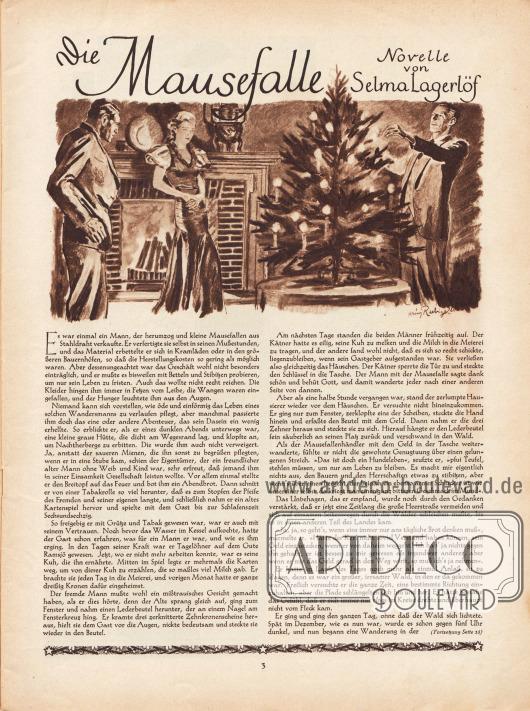 Artikel: Lagerlöf, Selma, Die Mausefalle (Novelle von Selma Lagerlöf, 1858-1940).  Die Novelle ist durch eine Zeichnung ergänzt. Diese zeigt zwei elegant angezogene Männer und eine Frau im Abendkleid ehrfürchtig vor einem leuchtenden Weihnachtsbaum stehend. Hinter der Dame brennt der Kamin. Zeichnung/Illustration: Heinz Raebiger (1903-ca.1955).