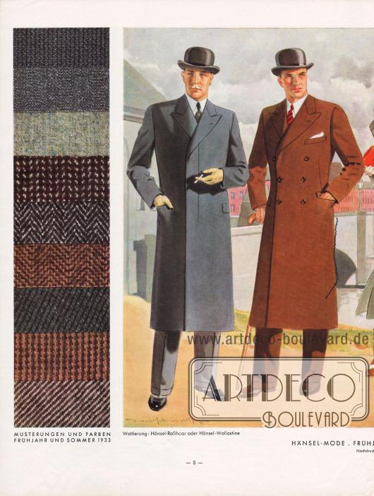 """Zwei Paletot Mäntel für Herren. Links werden zudem neun Musterungen und Stofffarben für Frühjahr und Sommer 1933 abgebildet. Das """"Hänsel-Echo"""" zu modischen Mänteln """"Der einreihige Paletot mit verdeckter Leiste hat stets hochstehende Fasson. Seine Taille darf nur angedeutet sein. Beim zweireihigen Paletot sind die Revers so zu arbeiten, daß sich der meist offen getragene obere Knopf noch bequem schließen läßt. […] Mäntel wie Ulster haben Rückennaht und Rückenschlitz."""" Zeichnung: Harald Schwerdtfeger (1888-1956)."""