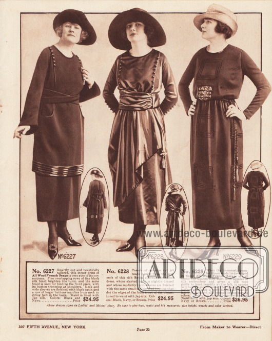 6227: Herbstliches Straßenkleid für 24,95 Dollar aus französischem Woll-Serge für Damen. Die Tunika zeigt am Saum dicht aufeinander folgende, glänzende Tressen aus schwarzer Seide. Tunika und Unterstoff werden an der Schulter über die Knöpfe miteinander verbunden. Clever eingelassene Taschen sowie ein gekreuzt getragener Bandgürtel. Glockenärmel. Japanische Seide dient als Futterstoff für das Oberteil. 6228: Nachmittagskleid oder auch mondänes Straßenkleid aus Satin mit geschlitzter, schürzenartiger Tunika und breitem Bandgürtel für Damen. Das Kleid zeigt ein seitlich herabhängendes Band mit Perlen und Quaste. Die enganliegenden Ärmel sind wie die lose Front der Bluse mit Knöpfen ausgestattet. Das Oberteil ist bis zur Taille mit japanischer Seide gefüttert. 6229: Elegant schlichtes Straßenkleid aus französischem Woll-Serge für Frauen. Quadratische Stickereien sowie ein seitlich gebundenes Gürtelseil mit Quasten machen den Charme dieses Modells aus. Ein plissierter Tailleneinsatz aus Jacquard-Seiden-Brokat in abstechender Farbgebung gibt dem Modell eine unverwechselbare Note. Der runde Halsausschnitt ist mit glänzender Einfassborte aus Satin versehen.