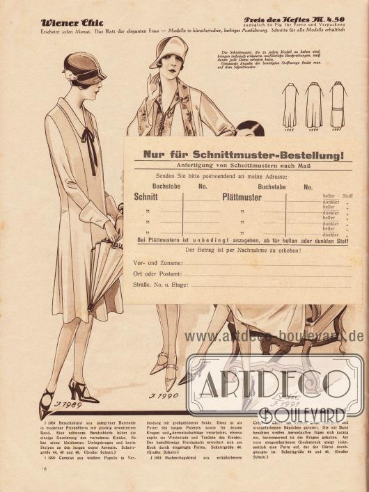 Lose beiliegende Postkarte, die sich über die Jahrzehnte am Papier festgeklebt hat: Rückseite der Postkarte (Maße: 14,9 x 10,4 cm / 5,87 x 4,10 in) zum Bestellen per Nachnahme von Schnittmustern und Abplättmustern.