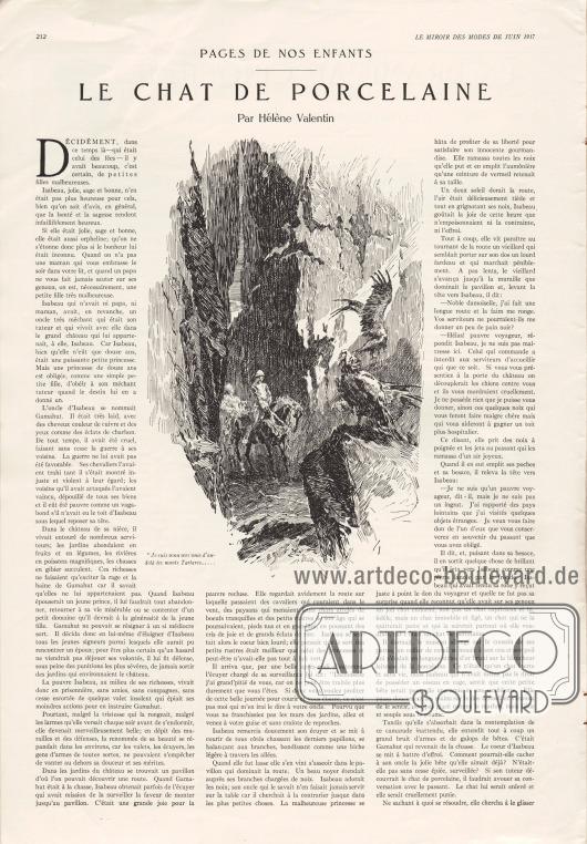 Artikel (Pages de nos enfants):Valentin, Hélène, Le chat de porcelaine.Illustration: unbekannt.