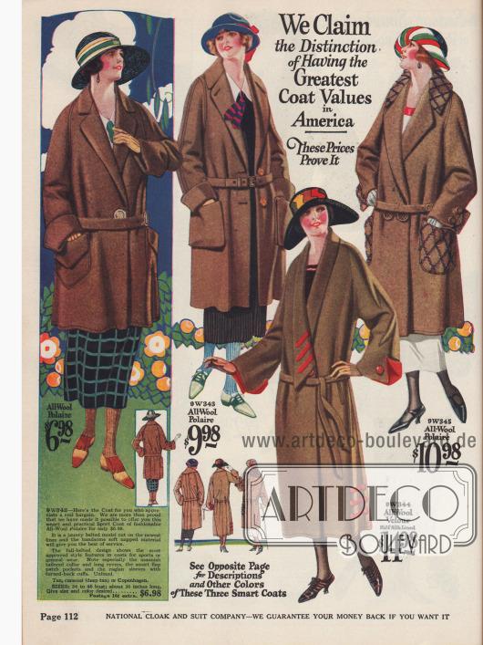 Für viele Zwecke geeignete Damenmäntel aus Woll-Polaire und Woll-Velours.