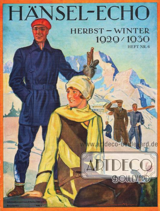 Titelseite der Herbst/Winter Ausgabe des Firmenmagazins Hänsel-Echo Nr. 6 von 1929. Zeichnung/Illustration: Harald Schwerdtfeger (1888-1956).
