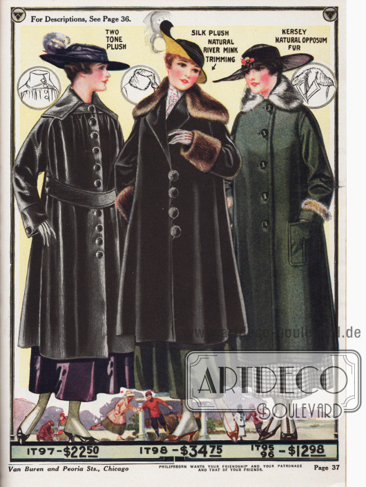 """Damenmäntel aus zweifarbig abstechendem Plüsch, Seidenplüsch mit Verbrämung aus Nerzpelz und einem Mantel aus """"kersey cloth"""" (Walkstoff aus Wolle) mit Pelzbesatz aus Opossum. Wie bei vielen anderen Mäntel aus dieser Zeit auch kann der Kragen entweder hochgeschlagen und zugeknöpft getragen werden, so dass der Hals gut warm gehalten wird, oder er kann offen getragen werden, so dass der Kragen weit ausladend die Schultern bedeckt."""
