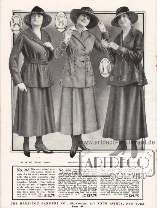 Kostüme der oberen Preiskategorie für Damen aus Woll-Jersey, reinem Wollgewebe und Woll-Serge. Das erste Jackenkleid ist ein Kostüm ohne Innenfutter für sportliche Zwecke. Es besitzt neuartig geformte Taschen und einen wandelbaren Kragen sowie Perlmuttknöpfe. Das mittlere Kostüm zeigt einen überaus vorteilhaften, adretten Schnitt und ist mit feinem Seiden-Peau de Cygne gefüttert. Über den ersten legt sich ein zweiter Kragen aus Seiden Faille. Die Jacke des dritten Modells wird durch die enge Gürtellung straff zusammengehalten, was den welligen Faltenwurf der Jacke noch unterstützt. Tressen aus glänzender Seide und Reihen von Zierknöpfen geben diesem Modell einen besonders exklusiven Charakter.