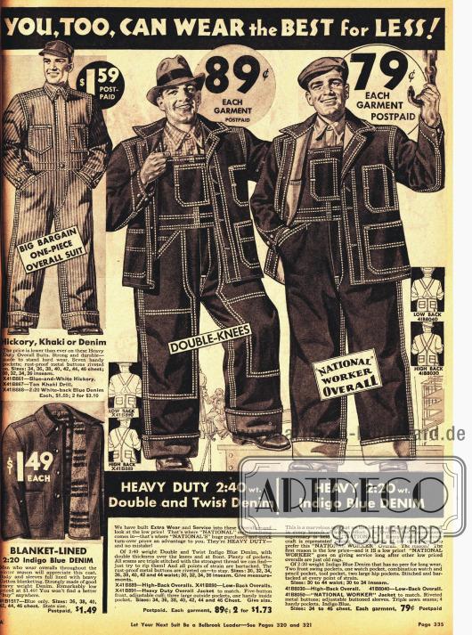 Schwere Arbeitskleidung aus Jeansstoff für günstige 89 ¢.