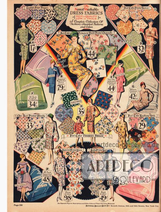 """Bunt gemusterte, bedruckte Kleiderstoffe und Unistoffe wie Pongee (Seidenstoff), importiertes Leinen, Organdy, Batist, Chiffon-Schleierstoff, englisches Breitgewebe, Swiss-Stoff (G), Barchent (Mischgewebe aus Baumwolle und Leinen), """"Radiana Cotton Voile"""" (M) (Baumwoll-Schleierstoff), """"Renby Printed Lawn"""" (S) (Ägyptische Baumwolle) und Chiffon-Schleierstoff."""