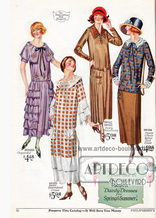Günstige Damenkleider aus Organdy, besticktem Baumwoll-Krepp, seidigem Shantung und Ratine. Das erste Kleid präsentiert sich durch seine beiden seitlichen, von der Taille abgehenden Stoffbahnen und mehrlagigen Volants und dem breiten, weit überlappenden Kragen als typisches Stilkleid. Das zweite Modell präsentiert aufgesetzte Taschen und zwei vertikal am Saum angenähte Stoffbahnen aus weißem Schleierstoff, die als schmalere Variante auch die Ärmel abschließen. Das dritte Kleid zeigt eine seitliche Plisseebahn, aufgesetzte Taschen und einen auffälligen Besatzstoff in Paisleymusterung. Das letzte Modell ist ein zweiteiliges Kleid aus rauem Ratinestoff, dessen Oberteil an Ärmeln und Kragen mit Spitzengarnitur für versehen ist.