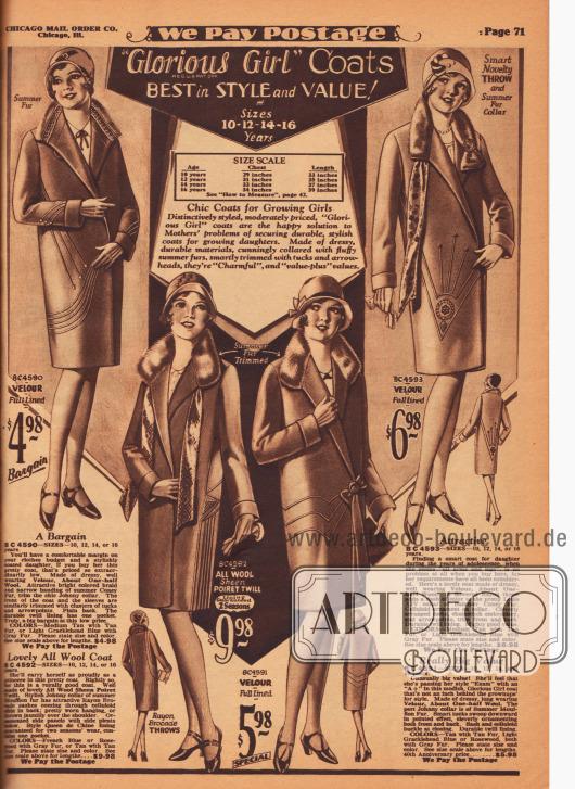 """Frühjahrsmäntel der Chicago Mail Order Marke """"Glorious Girl"""" für junge Mädchen im Alter von 10 bis 16 Jahren. Die Mäntel sind aus Poiret-Wolle und hauptsächlich aus Velours. Die Kragen aller Modelle sind entweder mit dem Sommerpelz des Mufflons (Wildziege) oder des Kaninchens verbrämt. Geometrisch angeordnete Biesen ergeben ornamentale schicke Muster."""