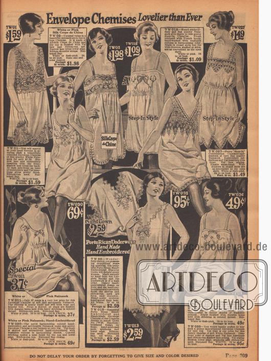 Unterwäsche. Unterhemden und Hemd-Höschen Kombinationen mit Spitze und Stickereien aus Seiden Crêpe de Chine und Nainsook (Baumwollstoff).