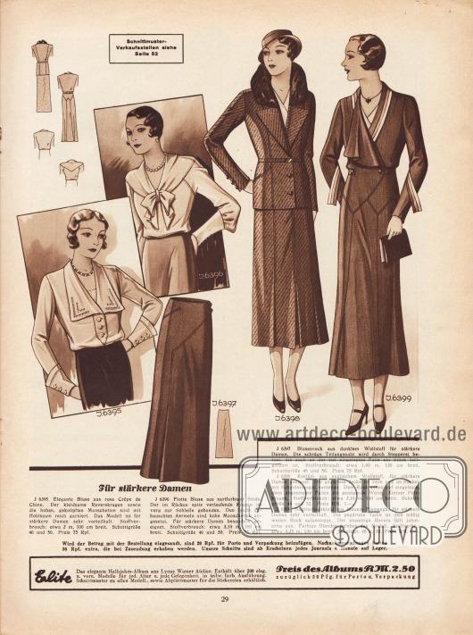 """""""Für stärkere Damen"""". 6395: Elegante Bluse aus rosa Crêpe de Chine. Der kleidsame Reverskragen sowie die hohen, geknöpften Manschetten sind mit Hohlsaum reich garniert. Das Modell ist für stärkere Damen sehr vorteilhaft. 6396: Flotte Bluse aus zartfarbiger Seide. Der im Rücken spitz verlaufende Kragen ist vorn zur Schleife gebunden. Den leicht gebauschten Ärmeln sind hohe Manschetten angesetzt. Für stärkere Damen besonders geeignet. 6397: Blusenrock aus dunklem Wollstoff für stärkere Damen. Die schräge Teilungsnaht wird durch Stepperei betont, die auch an der tief eingelegten Falte ein Stück fortgeführt ist. 6398: Kostüm aus englischem Wollstoff, für stärkere Damen geeignet. Die gegürtete Jacke ist vorn und im Rücken mit Schnittteilungen versehen. Dem Rock geben tief eingelegte, oben abgesteppte Falten die genügende Weite. Kleiner Pelzkragen. 6399: Nachmittagskleid aus blauem Flamenga, für stärkere Damen sehr vorteilhaft. Die gegürtete Taille ist dem mäßig weiten Rock aufgesteppt. Der einseitige Revers fällt jabotartig aus. Farbige Blenden beleben das Modell."""