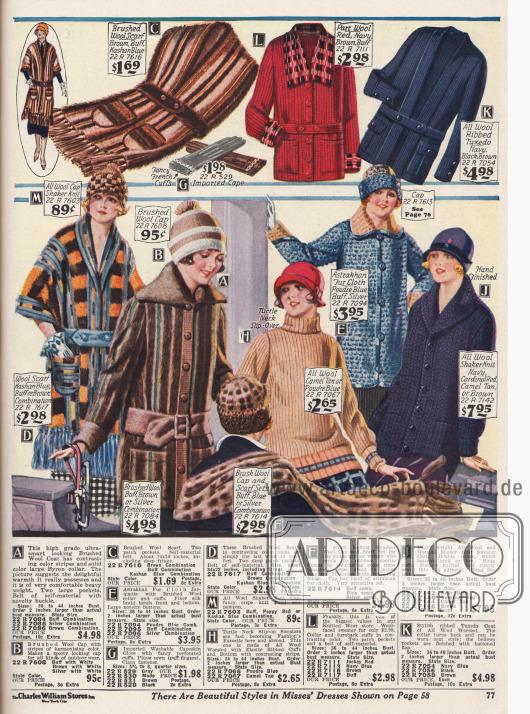 Wollschals aus gekämmter Wolle, Wollmützen, Handschuhe, Jacken aus Wolle und Astrachan Pelzstoff und Pullover aus Wolle.