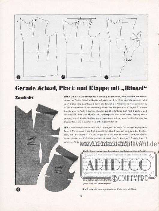 """Artikel:O. V., Gerade Achsel, Plack und Klappe mit """"Hänsel"""".Seite mit genauen Verarbeitungsanweisungen und Schnitten zur Erstellung einer guten Wattierung."""