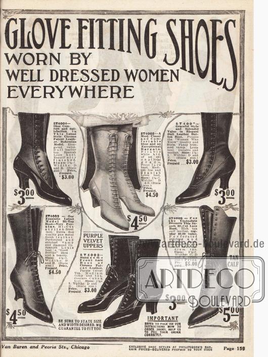 """""""Philipsborn's Glove Fitting Shoes"""" (dt. """"Philipsborns Schuhe wie angegossen"""").Schnürstiefeletten für Damen mit spitzen Kappen, geschwungenen Louis XIV Absätzen, mit Frontschnürung oder seitlichen Knopfverschlüssen aus Lack-, Chevreau- und Kalbsledern. Oft werden die Oberleder kontrastreich mit matten und glänzenden Ledern verarbeitet."""