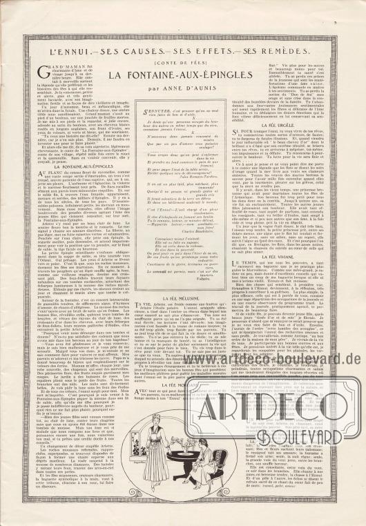Artikel: Aunis, Anne d', La Fontaine-aux-Epingles (L'ennui – ses causes – ses effets – ses remèdes).