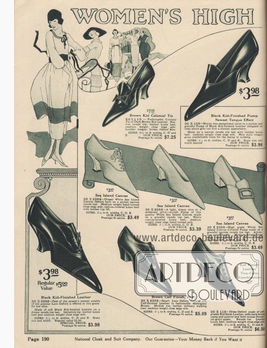 """""""Hochwertige Halbschuhe für Damen"""" (engl. """"Women's High [Grade Low Cuts]""""). Pumps mit und ohne Lasche bzw. Zunge, Oxfords und Kolonialpumps mit Metall-Schnalle aus Chevreauleder (Ziegenleder) oder Kalbsleder. Die drei Paare in der Mitte sind aus sommerlich leichtem, weißem Kanevas und damit atmungsaktiv. Die Modelle zeigen sehr spitze Schuhkappen sowie sparsame Ziernähte oder Lochlinienverzierungen. Ein Modell mit Schleife. Zwei Schuhpaare besitzen mittelhohe, breite Militärabsätze, die anderen Damenschuhe sind vollständig mit geschwungenen, zierlichen Louis XIV Absätzen ausgestattet."""