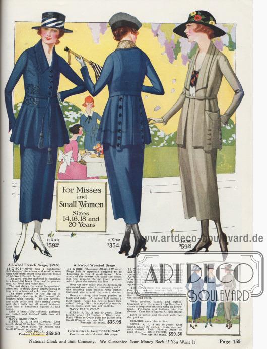Doppelseite mit erlesenen Kostümen für bis zu 59,50 $. Die Kostüme sind aus Woll-Serge, Woll-Jersey, Woll-Poplin und Woll-Poiret. Die Jacken werden mit schmal gebundenen Gürteln getragen, während der Schoß der meisten Jacken glockig aufgeht.