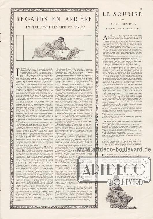 Artikel: B., G., Regards en arrière. En feuilletant les vieilles revues; Mortimer, Maude, Le sourire (par Maude Mortimer, adapté de l'anglais par G. de M.). Illustration/Zeichnung: Franklin Booth (1874-1948).