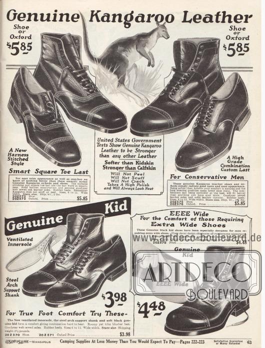 """Halbschuhe und Stiefeletten aus echtem, importiertem australischen Känguruleder oben und Kalbs- und Rindsleder unten für qualitätsbewusste Männer.Unter den hier präsentierten Herrenschuhen sind Oxford Modelle und Derbys. Diese zeigen Verarbeitungs- und Ziernähte sowie Lochlinienverzierungen (Perforationen) über der Querkappe. Die Schuhe sind Rahmenvernäht (engl. """"Goodyear welted"""")."""
