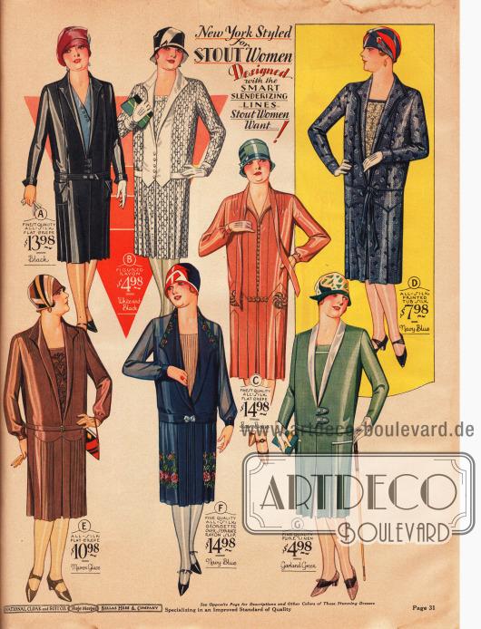 Aparte Tageskleider für die Dame mit einer stärkeren Figur. Die Kleider sind aus Seiden Krepp, Rayon, Seiden-Georgette und Rayon, Leinen sowie bedrucktem Seidenstoff. Einzelne Modelle sind dezent bestickt, wie (C), (E) und (F). Auch Westeneinsätze sind 1928 sehr beliebt, hier zu sehen bei den Modellen (A), (D), (E), (F) und (G).